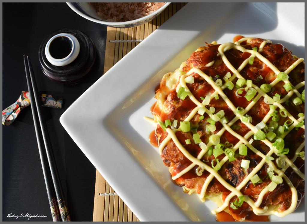 todayimight.com   Okonomiyaki with Bonito Flakes