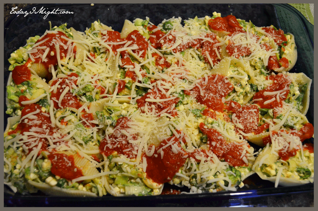 todayimight.com | Spinach Broccoli and Leek Stuffed Shells Topping