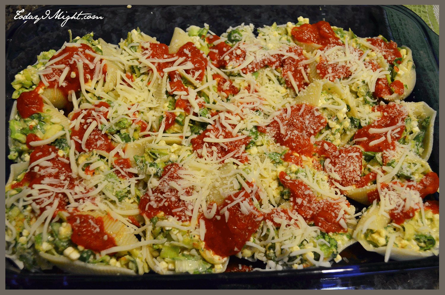 Spinach, Broccoli and Leek Stuffed Shells - Today I Might...