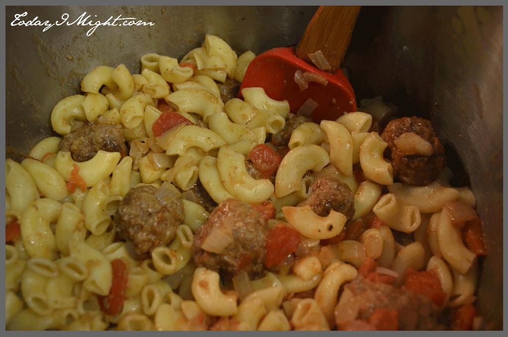 todayimight.com | Pennsylvania Dutch Macaroni and Meatballs | Combining Pasta and Meatball Sauce