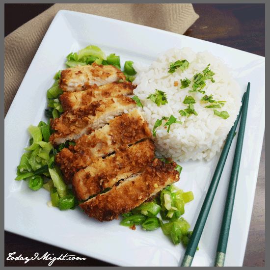 ... | Panko-Crusted Chicken with Bok Choy and Snap Pea Stirfry and Rice