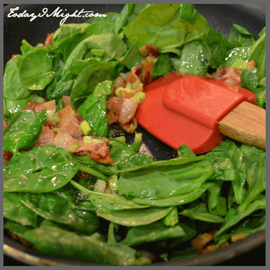 todayimight.com | Preparing Spinach, Bacon and Green Onion