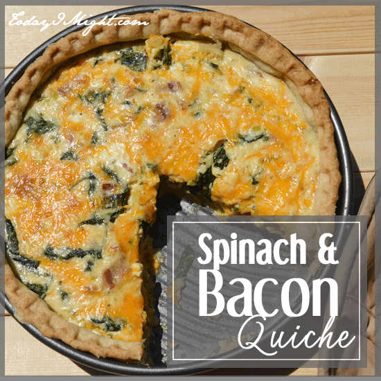 todayimight.com | Spinach and Bacon Quiche Title