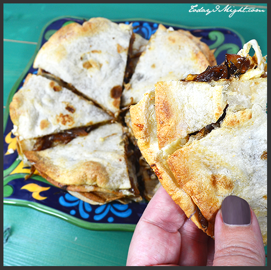 todayimight.com | Piece of Caramelized Onion Quesadilla